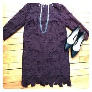 Eggplant lace sheath dress